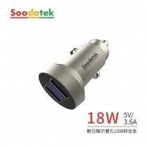 【Soodatek】數位顯示雙孔USB 3.6A 鋅合金車充 (SCU2-ZN536SI)